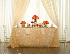 sparkly, romantic , vintage...in love with the gold glitter tablecloth.