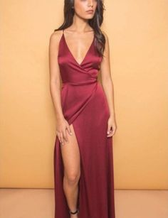 2017 Sexy Evening Dress Prom Dress Burgundy/Wine Red Deep V-neck High Split New Arrival Prom Dress Party Gown Cocktail Dress