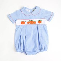 bb68e0c5b Blue Gingham Smocked Pumpkin Boys Bubble by Cecil and Lou Blue Gingham,  Baby Boy Outfits