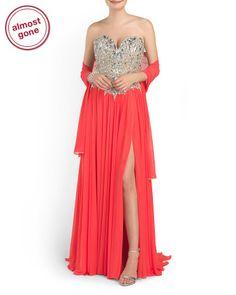 dbd6558dc28 Strapless Beaded Gown - Formal - T.J.Maxx