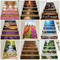 / set Stair Stickers Home Decorative Stair Wall Decals Floor . / set Stair Stickers Home Decorative Stair Wall Decals Floor Step Poster Stairway Art, Stairway Walls, Small Space Interior Design, Interior Design Living Room, Small Hallway Decorating, Landscape Stairs, 3d Landscape, Stair Stickers, Traditional Staircase