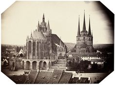 Dom und Severikirche, Erfurt. Late 1850s. Albumen print with trimmed corners. 12 x 16 cm (15 x 19 cm). Mounted to original cream-colored card (light signs of handling upper edge).