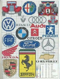 Autos Cross Stitch Cards, Cross Stitching, Cross Stitch Embroidery, Embroidery Patterns, Cross Stitch Patterns, Pixel Art, Auto Logo, Plastic Canvas Patterns, Le Point