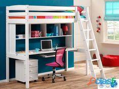 Cama alta con escritorio y estanteria