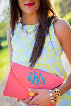 A Southern Drawl: Preppy Gretchen Scott Shift Dress , Monogrammed Clutch + spray tan= Heaven Preppy Outfits, Summer Outfits, Cute Outfits, Preppy Southern, Southern Drawl, Southern Girls, Southern Charm, Southern Style, Prep Style