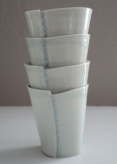 Handmade Ceramic Porcelain Cups  Set of 4 by taylorceramics, $80.00