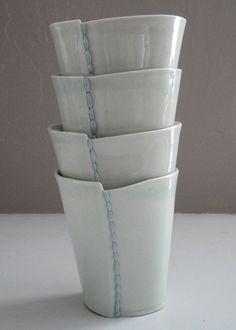 Handmade Ceramic Porcelain Cups  Set of 4 by taylorceramics, $80.00