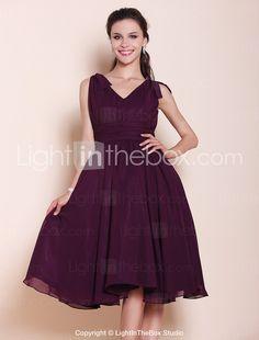 A-line Princess V-neck Knee-length Chiffon Bridesmaid Dress - USD $ 99.99