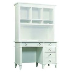 Hardwood desk and hutch with ring pulls.  Product: Desk and hutch Construction Material: Hardwood Color: Soft white  Dimensions: 72 H x 46.75 W x 22 D Note: Chair not included