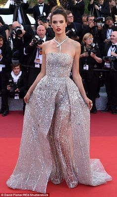 Stunning in silver! Alessandra Ambrosio dazzled in a silver full skirted gown that on closer inspection featured a pair of unique tights that ran across the length of her lean legs and over the top of her silver stiletto heels