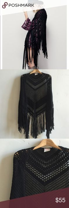| Free People Fringe Shawl Beautiful black knit fringe shawl.  Perfect over your favorite boho dress.  One size fits all.  In excellent, gently used condition. Free People Sweaters Shrugs & Ponchos