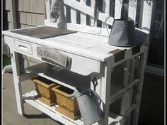 pot tabl, picket fences, idea, yard, pot bench, potting tables, outdoor, potting benches, garden