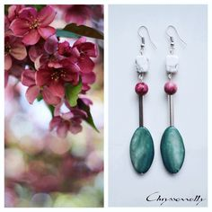 JEWELRY | Chryssomally || Art & Fashion Designer - Geometria romance boho chic silver earrings with mint green, marsala burgundy and white gemstones