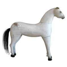 Toy Swedish Horse In White Paint  Sweden  c 1880