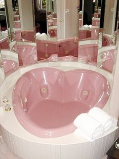 """Pale pink heart-shaped whirlpool – when """"mirror the hell out of the bathroom"""" … – Bathroom decor ideas - Bedroom Decor ideas Girl Bedroom Designs, Girls Bedroom, Bedroom Decor, Rich Girl Bedroom, Wall Decor, Aesthetic Rooms, Pink Aesthetic, Aesthetic Style, Decoration Shabby"""