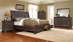 Classic design elements meet updated looks in this beautiful bedroom set. Each piece has a distressed grey/brown finish. King Bedroom Sets, Queen Bedroom, Master Bedroom, Your Perfect, Brown And Grey, Design Elements, Your Style, Rest