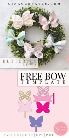 Free Svg Butterfly Bow Template For Use With Cricut Or Silhouette Cutting Machines Bow Template, Butterfly Template, Butterfly Crafts, Butterfly Party, Diy Hair Bows, Making Hair Bows, Diy Bow, Diy Ribbon, Ribbon Hair