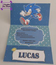 Convite personalizado tema Sonic  Impresso em papel opalina 180gr fosco, inclui…