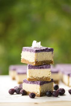 raw blueberry and lemon slice with no added sugar, dairy and gluten free..... see recipe at www.kidseatbyshanai.com