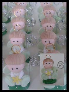 Angelitos para bautizo porcelana fria