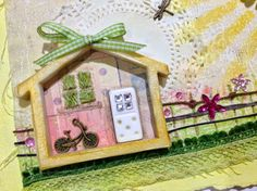 "Mini House frame and domino cast in Amazing Casting Resin set a ""Sunny"" Springtime #mixedmedia scene by designer Susan M. Brown {sbartist}. www.moldputty.com"