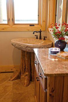 Custom Hybrid Log Homes & Timber-Frame Homes – Photo Gallery by Wisconsin Log Homes - Bathrooms - Wisconsin Log Homes