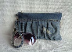 Handmade pouch in Grunge Rock stonewashed denim style. Absolutely unique item…