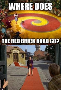 That's clearly red carpet under willy wonka, not brick. Get your shit together, Internet!