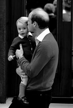 William and George - Prince George arrives to meet his new baby sister (May, 2, 2015)
