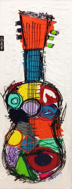 Guitare à Toto : Mixted media on canvas and plexiglas