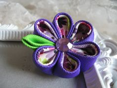 Kanzashi Flower in Colored Purple Hair clip by krantwist on Etsy, $6.99
