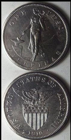 Vintage 1910 S Philippines 1 Peso Coin, AU