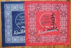 This cotton Made in America Bandana features signature Rockmount art work from the From Rockmount Ranch Wear, the original makers of the western snap shirt. Silk Scarves, Bandana, Westerns, My Style, Artwork, How To Make, Western Style, Cotton, Inspiration