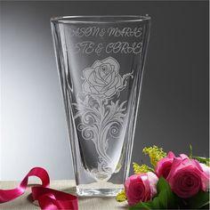 Rose Romance Personalized Crystal Vase