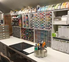 Studio Showcase Winner - Nancy - Stamp-n-Storage Scrapbook Room Organization, Storage Room Organization, Craft Room Storage, Paper Storage, Craft Rooms, Ribbon Holders, Led Light Fixtures, Antique Desk, Dream Studio