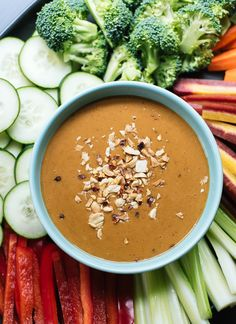 This peanut sauce is a healthy party veggie dip! cookieandkate.com