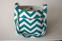 Turquoise and White Chevron Cross Body Tote by BonnieMadeWithLove, $30.00
