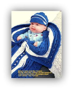 Boy Baby Bunting w Hat Converts to Toddler Blanket - Accommodates Car Seat Straps! by VictoriaCrochet, $84.95