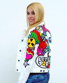 Oxana Prantl - Hand made creation - Pop Art Jeans Jackett Jackett, Pop Art, Jeans, Handmade, Fashion, Hand Made, Moda, La Mode, Craft
