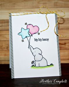 Avery Elle Clear stamps Ellie - use this idea with any balloon stamp and a critter holding the balloons