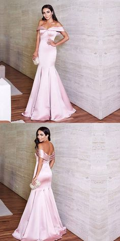 ad50e40aae9 2018 Mermaid Prom Dresses Off Shoulder Simple Satin Pink Prom Dress Evening  Dresses AMY438
