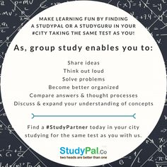 Make #learning fun by finding #Studypal in your #city taking the same #test as you!!
