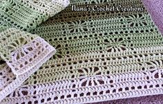This blanket works up very fast and has a very easy to memorize pattern repeat. Can be made with stripes or a solid color, whichever is preferred.
