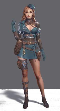 ArtStation - 小绿, Yuan Xin airport hostess hôtesse de l'air in Battle mode
