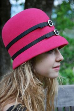 pink cloche with leather embellishment by FINKAMENDOCINO #millinery #hats #HatAcademy