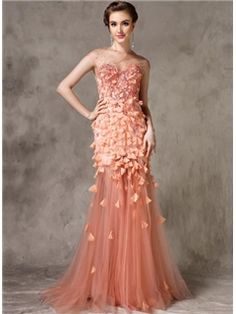 Sexy Beading Flower Mermaid/Trumpet Floor Length Sweep/Brush Train Evening Dress