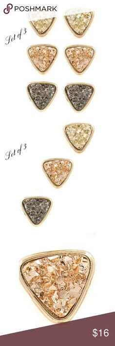 """Set of 3 druzy stone earrings Set of 3 druzy triangle style stud earrings. Makes a great gift!!  Post back Approximately 1/2"""" Jewelry Earrings"""