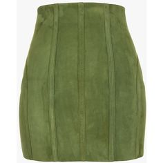 Underwired suede mini skirt   Women's leather skirts   Balmain ($2,560) ❤ liked on Polyvore featuring skirts, mini skirts, balmain, green leather skirt, leather miniskirt, short skirts and balmain skirt