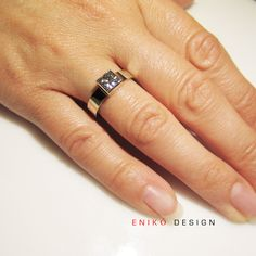 Elegant Princess cut 1ct Diamond Engagement ring - Custom Made to Order. $9,875.00, via Etsy.