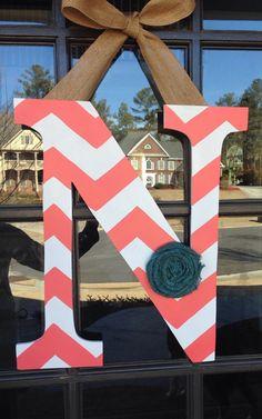 Door Hanger: Initial Front Door Decoration by KnockinOnWood on Etsy https://www.etsy.com/listing/217869994/door-hanger-initial-front-door